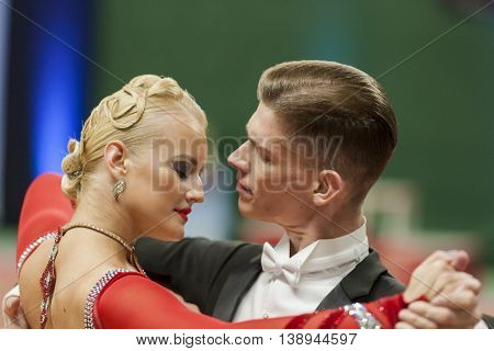 Minsk Belarus -May 28 2016: Buldyk Sergey and Raiko Alena Perform Adult Show Case Dance Show During the National Championship of the Republic of Belarus in May 28 2016 in Minsk Republic of Belarus