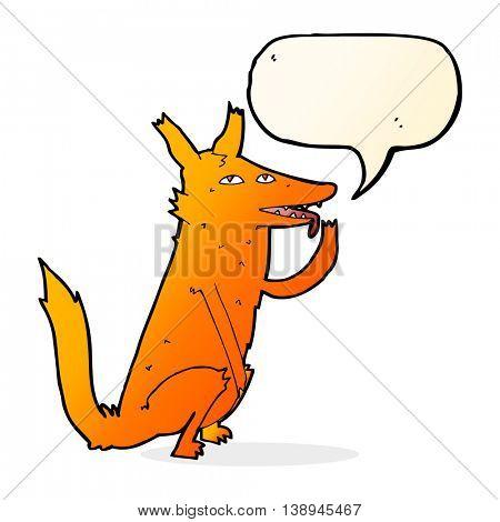 cartoon fox licking paw with speech bubble