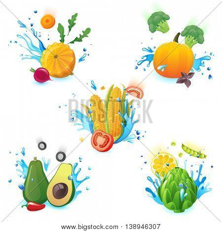 fresh vegetables falling in water splashes