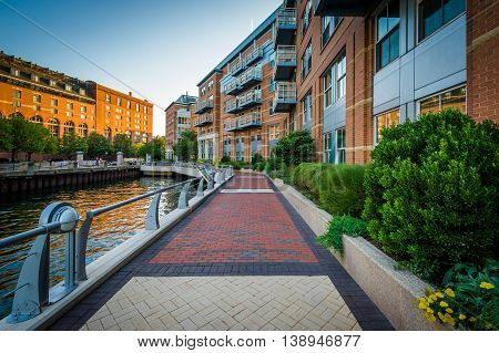 The Boston Harborwalk At Battery Wharf, In The North End, Boston, Massachusetts.