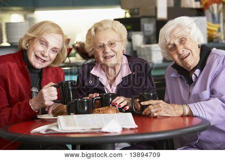 Mulheres sênior, bebendo chá juntos