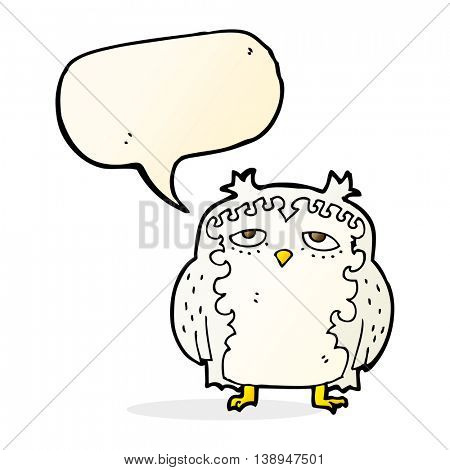 cartoon wise old owl with speech bubble