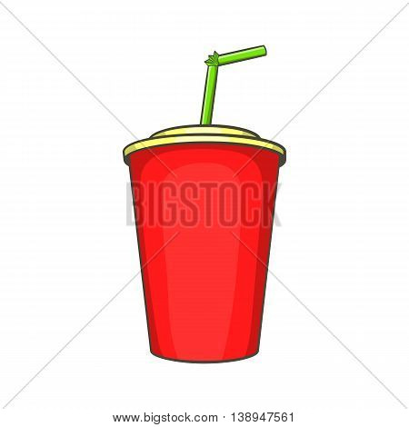Plastic cup with straw icon in cartoon style isolated on white background. Drinks symbol