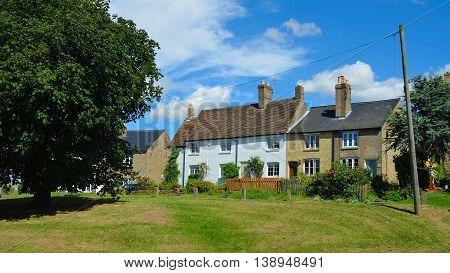 Abbotsley, Cambridgeshire, England - July 17, 2016: High Green Cottages Abbotsley Cambridgeshire.