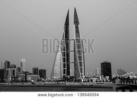 MANAMA, BAHRAIN - MAY 14, 2016: View of the World Trade Center and other high rise buildings in the city - Black and White Image