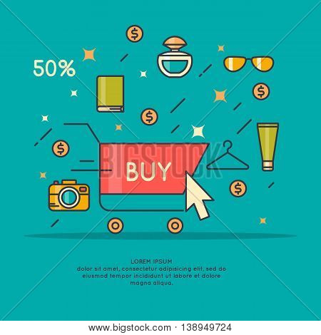 Vector illustration of best sale in cartoon style with telephone shopping cart hand and different products. Banner for advertising design website flyer or cover