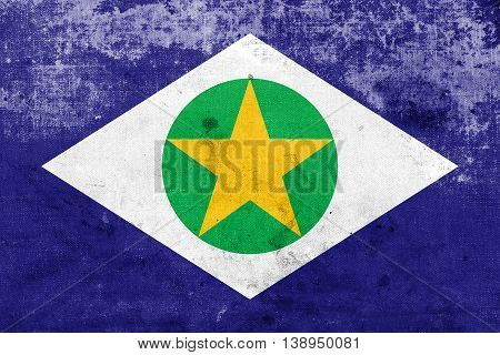 Flag Of Mato Grosso State, Brazil, With A Vintage And Old Look