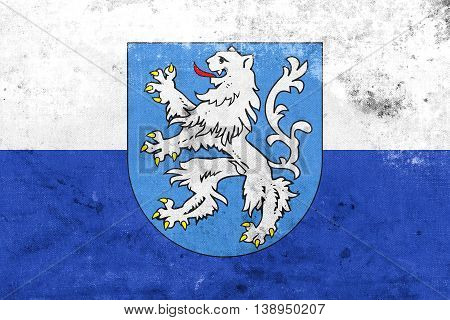Flag Of Mlada Boleslav With Coat Of Arms, Czechia, With A Vintag
