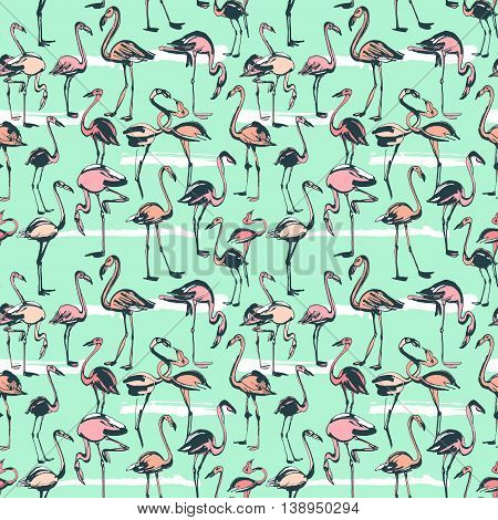 Vector illustration  Tropical exotic birds flamingos summer seamless pattern. Pink and mint