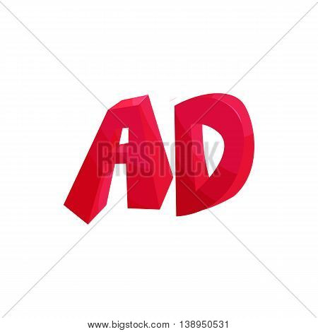 Letters AD icon in cartoon style isolated on white background. Alphabet symbol