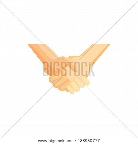 Handshake icon in cartoon style isolated on white background. Friendship symbol