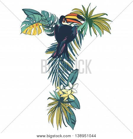 Vector illustration Tropical floral summer pattern hand drawn ornamental font set with palm beach leaves, flowers, flamingo and toucan birds. Letter T
