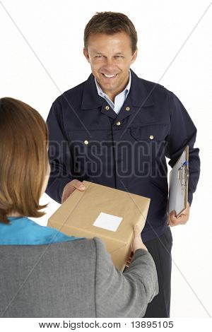 Courier Handing Over A Parcel To An Office Worker