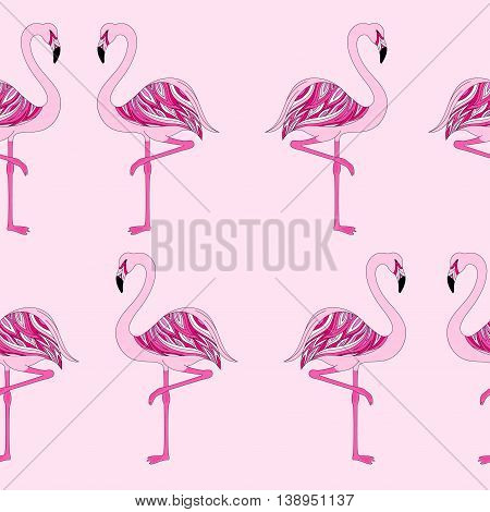seamless beautiful pink flamingos stand on one leg