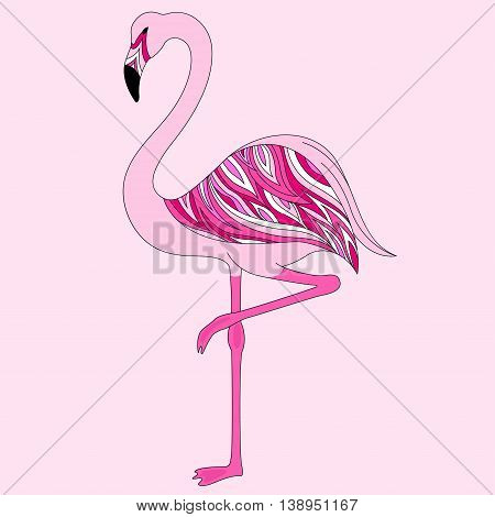 beautiful pink flamingo stands on one leg