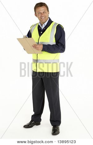 Courier Writing On A Clipboard