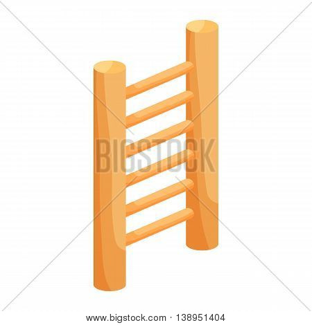 Wooden vertical ladder icon in cartoon style isolated on white background. Stairs symbol