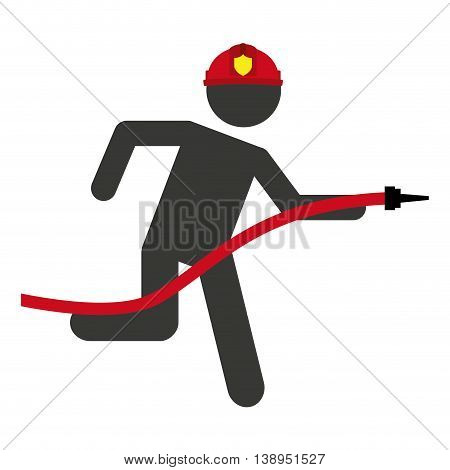 hose firefighter man icon graphic isolated vector