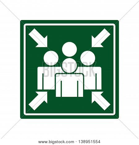 arrows point meeting emergency signal graphic isolated vector