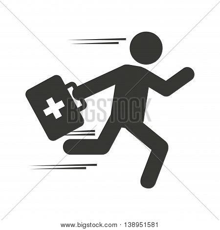 paramedic man running medical kit graphic isolated vector