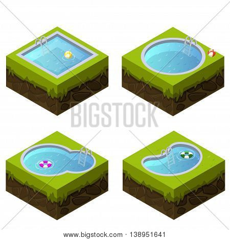 Isometric swimming pool different shapes in vector
