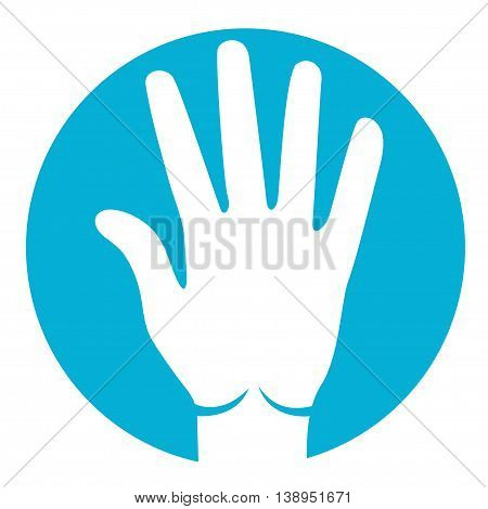 five fingers icon in white color on azure background