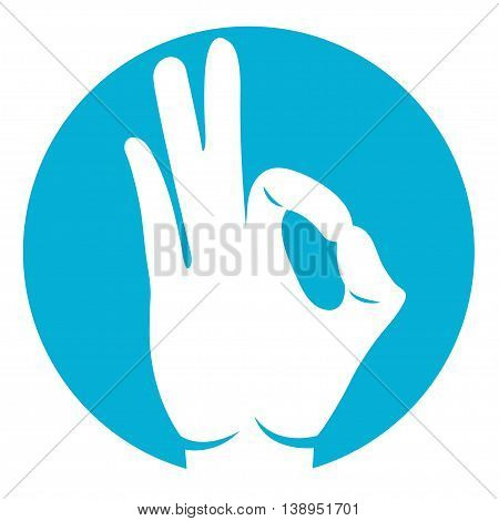 ok hand icon in white color on azure background