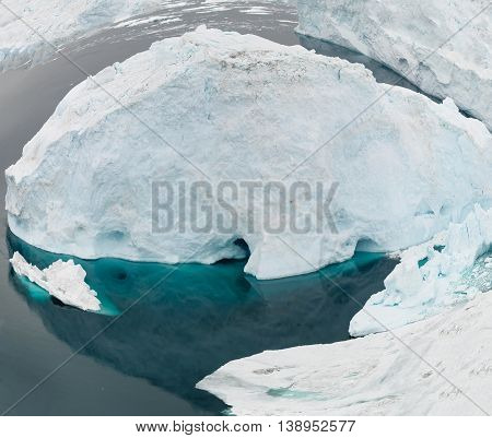 Huge icebergs on the arctic ocean at Greenland