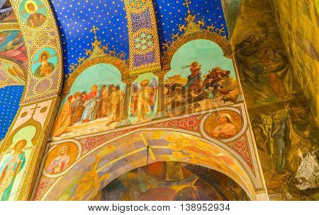 TBILISI GEORGIA - MAY 28 2016: The frescoes on the wall and ceiling of Sioni Cathedral of Dormition on May 28 in Tbilisi.