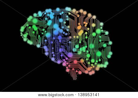 colored circuit board in form of human brain
