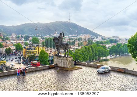 TBILISI GEORGIA - MAY 28 2016: The view on the old town with the equestrian statue of Vakhtang Gorgasali on May 28 in Tbilisi.