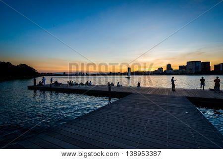 Dock At Sunset At The Charles River Esplanade, In Boston, Massachusetts.