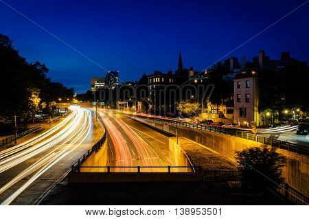 Long Exposure Of Traffic Along Storrow Drive At Night, In Beacon Hill, Boston, Massachusetts.