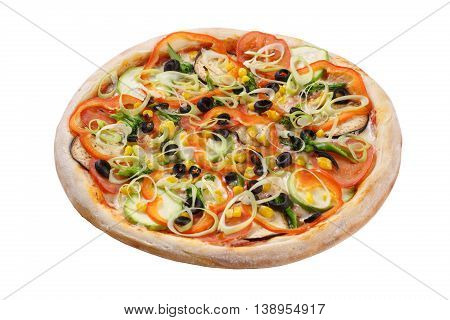 Vegetable pizza with tomatoes aubergines courgettes peppers and olives