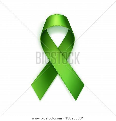 Vector Green Breast Cancer Ribbon Isolated on White Background