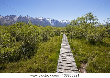 Glenorchy Lagoon Boardwalk in Glenorchy, New Zealand