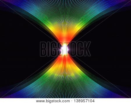 Abstract Background With Rainbow Lines Interlocking In A Glowing Center,