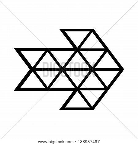 White triangle arrow icon in simple style isolated on white background