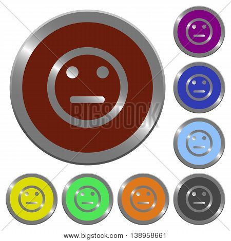 Set of color glossy coin-like Neutral emoticon buttons.