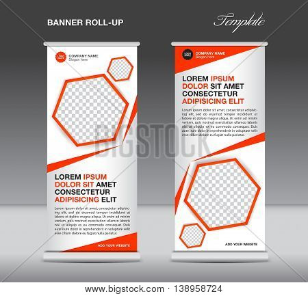Orange Roll up banner template stand display advertisement flyer design polygon vector