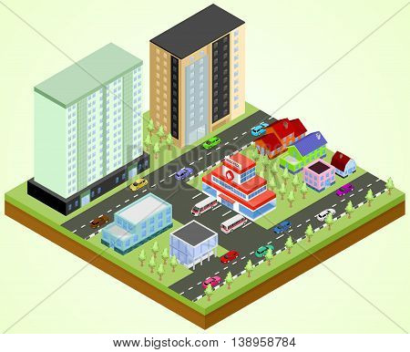 Isometric city block with the hospital building