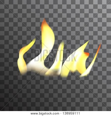 Realistic burning fire flames vector effect, with transparency for design. Campfire isolated.
