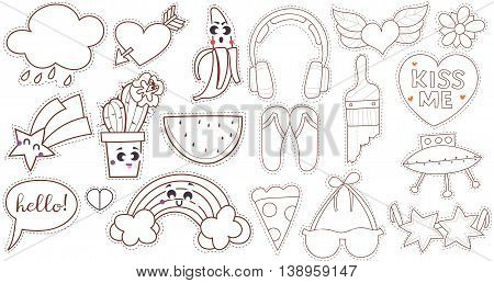 Set cartoon patch badges or fashion pin badges. Earphones, heart, wings, kiss, brush, sun glasses, bra, flip flop hand drawn vector line sketch
