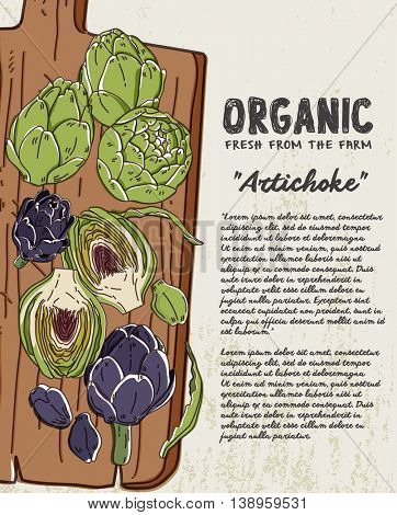 Fresh artichoke on wooden background. Fresh organic food