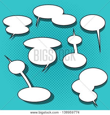 Set of comic speech bubbles on halftone background. Double and triple clouds. Can be used for web and mobile applications. Pop art style