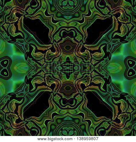 Abstract seamless blue green metallic viking like pattern