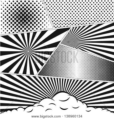 Comics book background in black and white colors. Blank template mock-up. Pop-art style