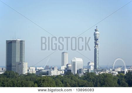 Cityscape With The BT Tower And Millennium Wheel, London, England