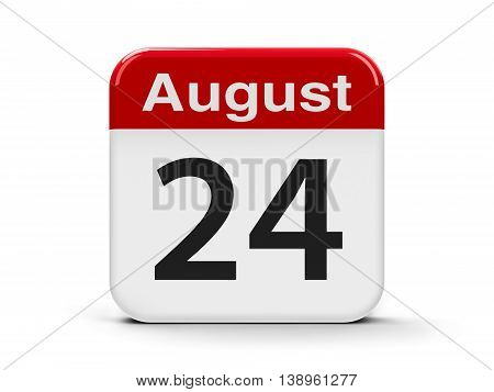 Calendar web button - The Twenty Fourth of August - Independence Day of Ukraine three-dimensional rendering 3D illustration