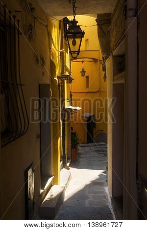 narrow alley in the picturesque coast village Vernazza Cinque Terre Italy
